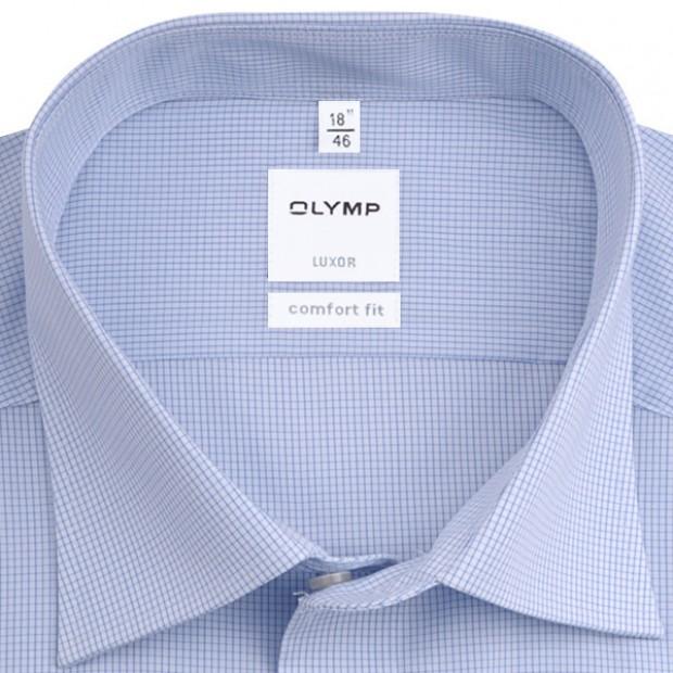 OLYMP vasalásmentes férfi ing kék apró kockás - gallér