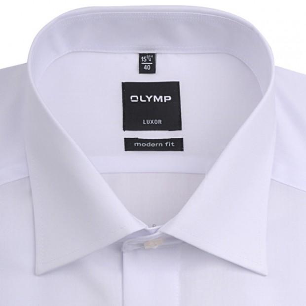 OLYMP vasalásmentes férfi ing karcsúsított fehér rövidített ujjú - gallér
