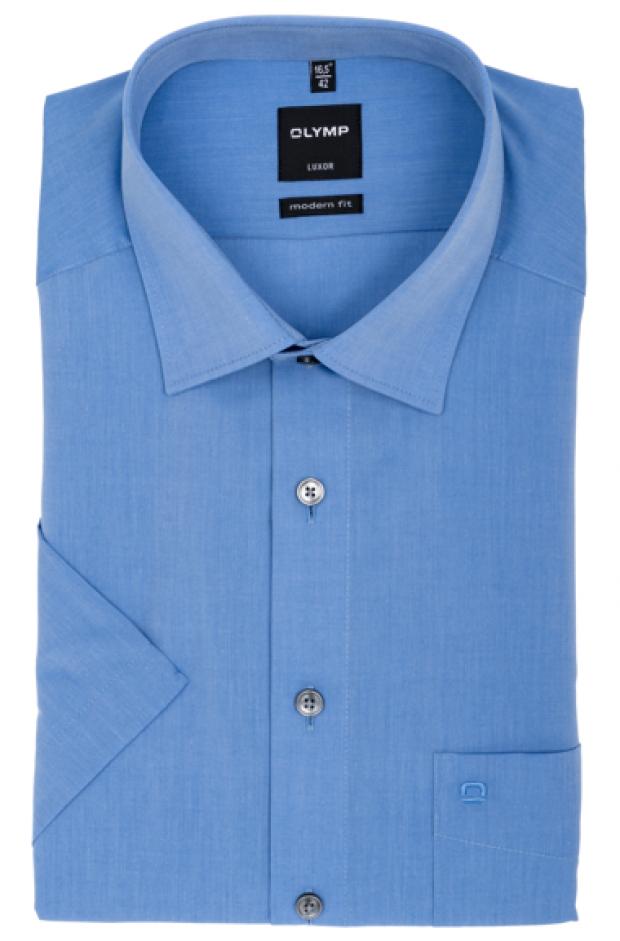 OLYMP vasalásmentes férfi ing karcsúsított kék rövid ujjú
