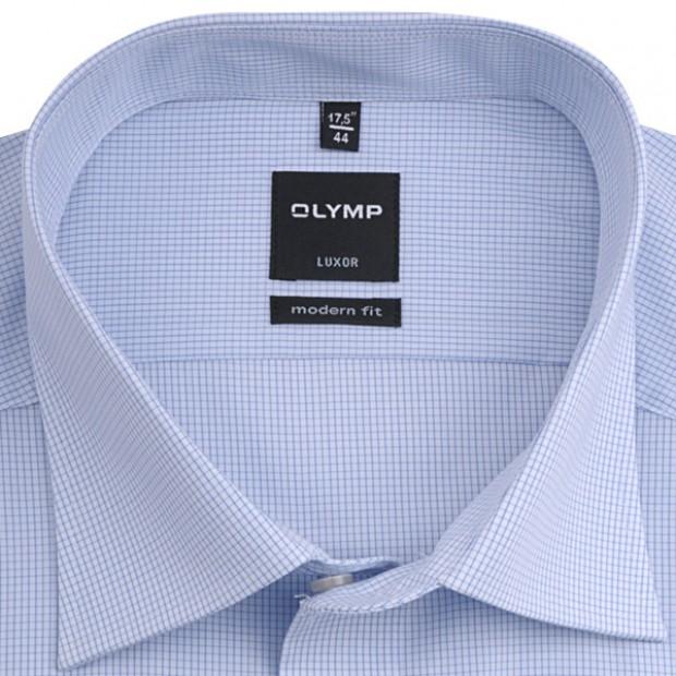 OLYMP vasalásmentes férfi ing karcsúsított kék kockás hosszított ujjú - gallér