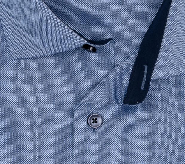 OLYMP vasalásmentes férfi ing karcsúsított sötétkék anyagában mintás rövid ujjú (sötétkék gombok) - gallér