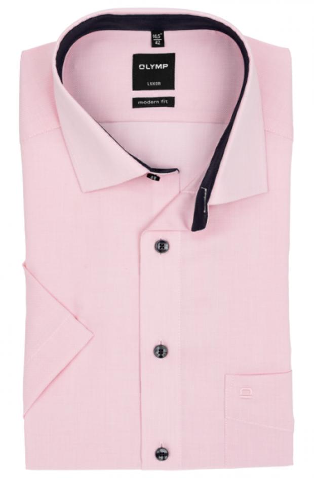 OLYMP vasalásmentes férfi ing karcsúsított rózsaszín anyagában mintás rövid ujjú (sötétkék gombok)