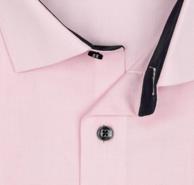 OLYMP vasalásmentes férfi ing karcsúsított rózsaszín anyagában mintás rövid ujjú (sötétkék gombok) - gallér