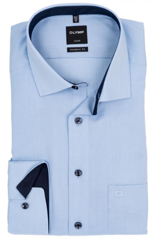 OLYMP vasalásmentes férfi ing karcsúsított világoskék mintás