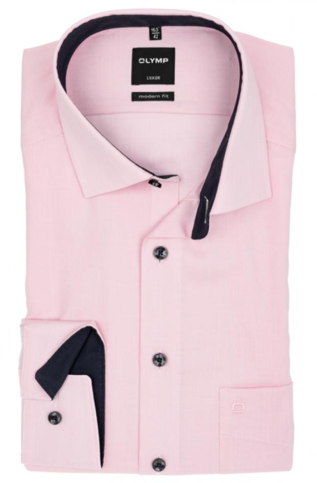 OLYMP vasalásmentes férfi ing karcsúsított rózsaszín mintás