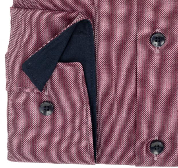 OLYMP vasalásmentes férfi ing karcsúsított bordó mintás - mandzsetta