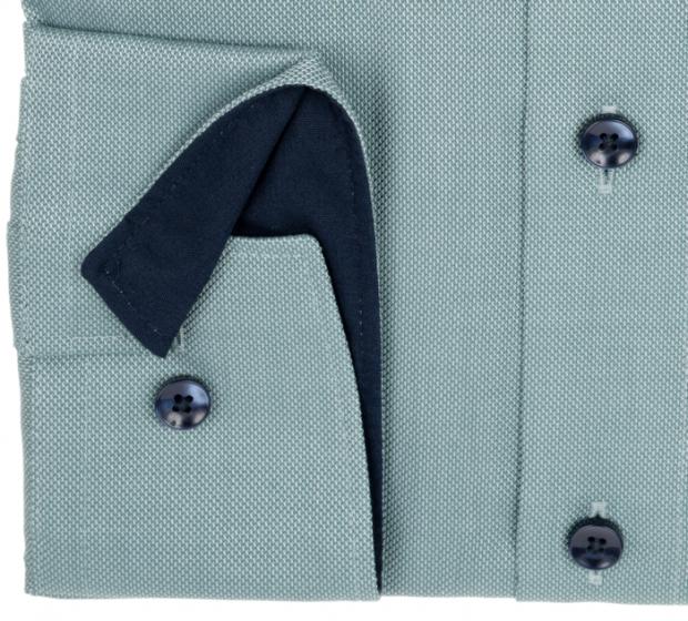 OLYMP vasalásmentes férfi ing karcsúsított zöld mintás - mandzsetta