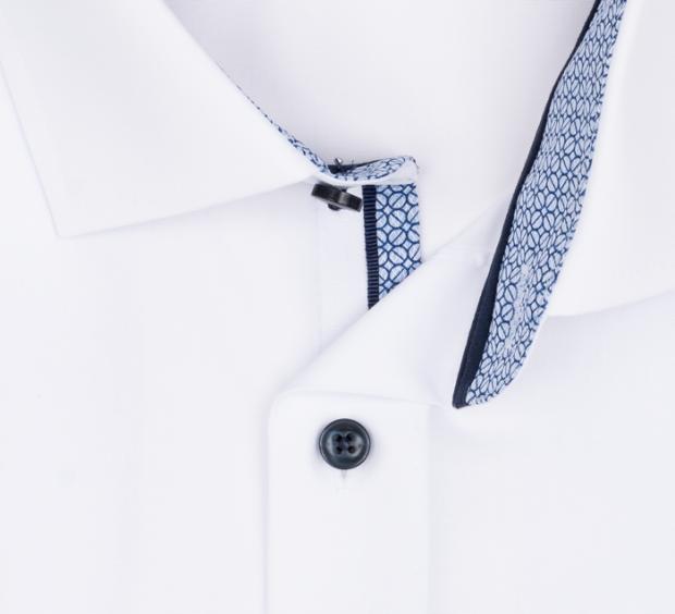 OLYMP vasalásmentes férfi ing karcsúsított fehér rövid ujjú (csíkos gallér belső) - gallér