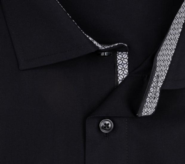 OLYMP vasalásmentes férfi ing karcsúsított fekete - gallér