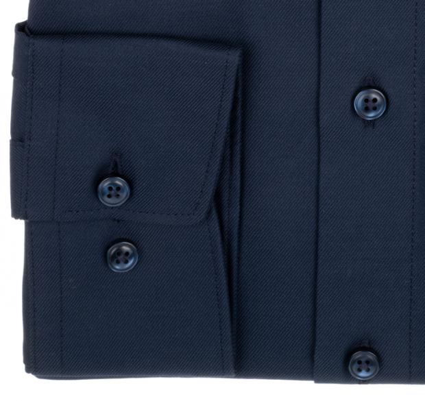 OLYMP vasalásmentes férfi ing karcsúsított sötétkék anyagában csíkos - mandzsetta
