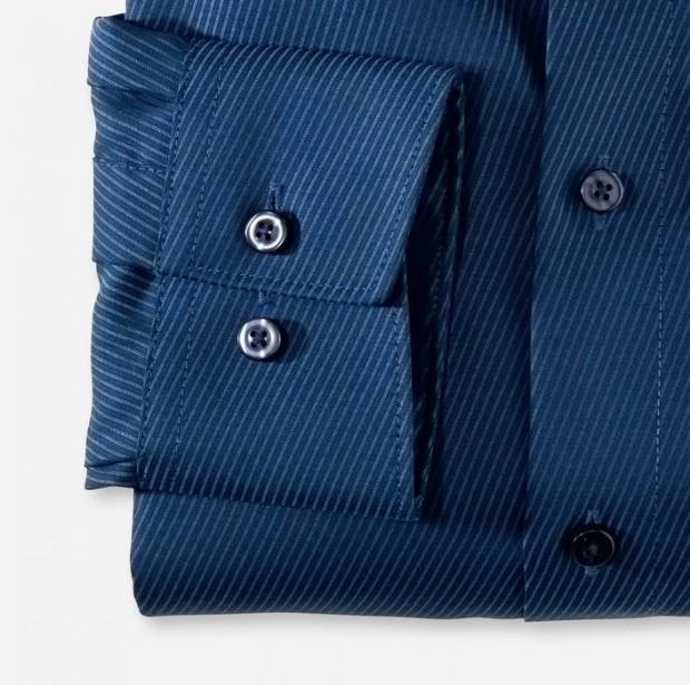 OLYMP vasalásmentes férfi ing karcsúsított sötétkék átlós csíkos - mandzsetta