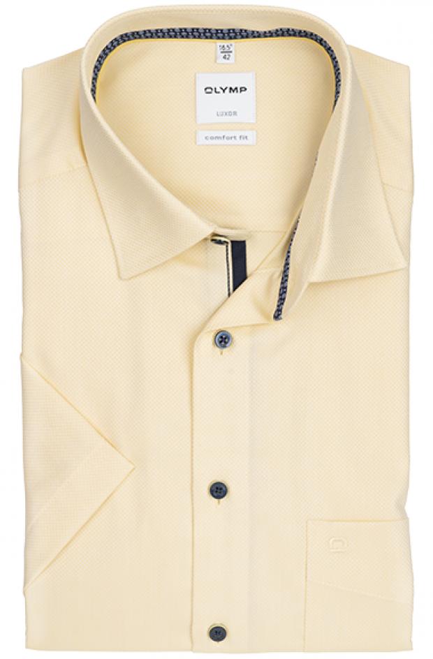 OLYMP vasalásmentes férfi ing sárga anyagában mintás rövid ujjú