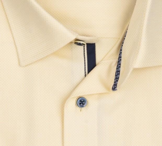 OLYMP vasalásmentes férfi ing sárga anyagában mintás rövid ujjú - gallér