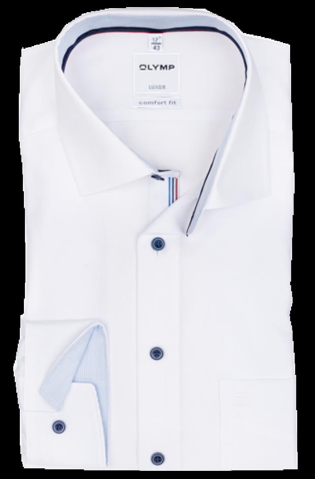OLYMP vasalásmentes férfi ing fehér (csíkos gallér belső)