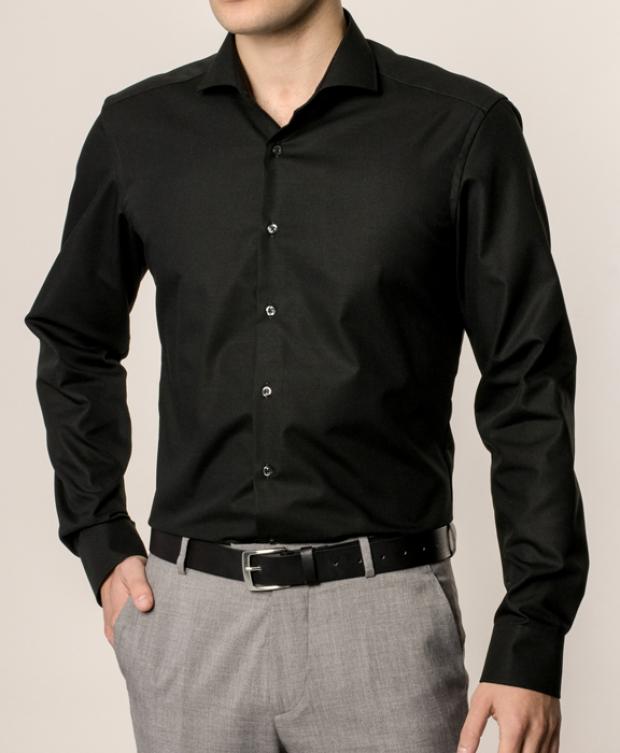 eterna vasalásmentes duplán karcsúsított férfi ing fekete - modell