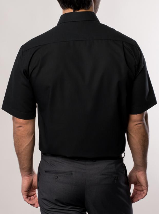 eterna vasalásmentes férfi ing fekete rövid ujjú - hát