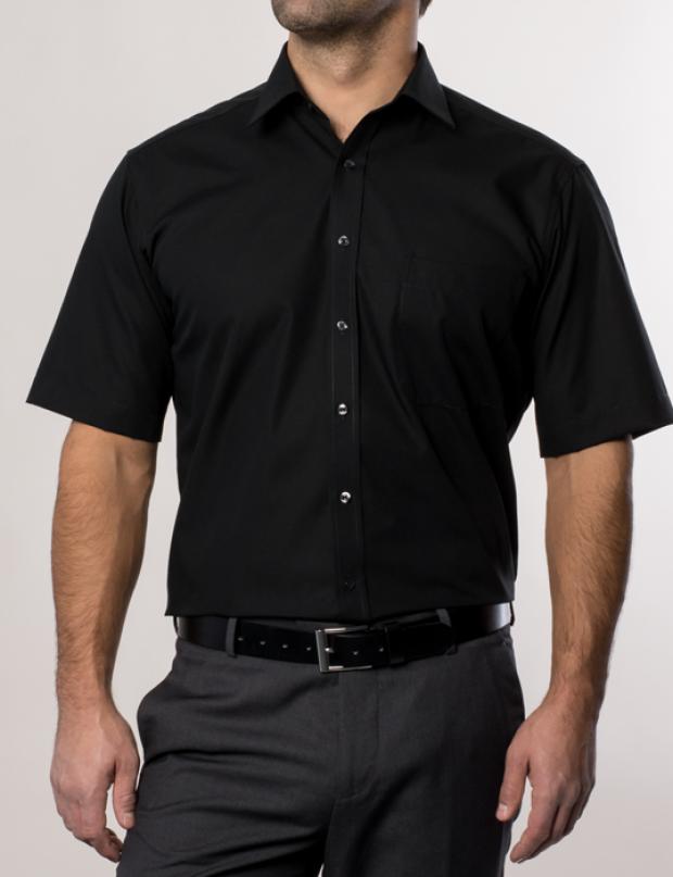 eterna vasalásmentes férfi ing fekete rövid ujjú - modell