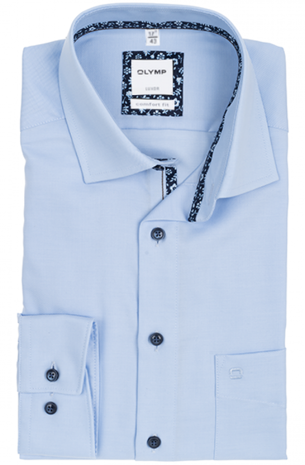 OLYMP vasalásmentes férfi ing világoskék átlós csíkos