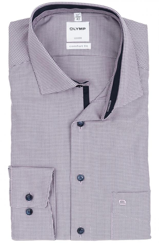 OLYMP vasalásmentes férfi ing rózsaszín-sötétkék mintás