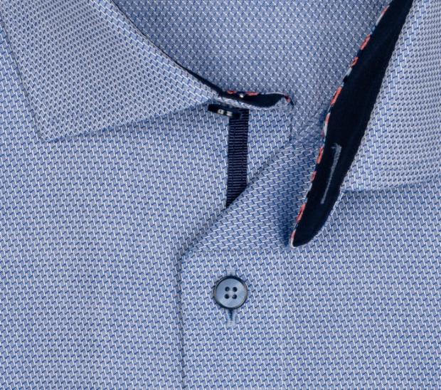 OLYMP vasalásmentes férfi ing karcsúsított kék anyagában mintás - gallér