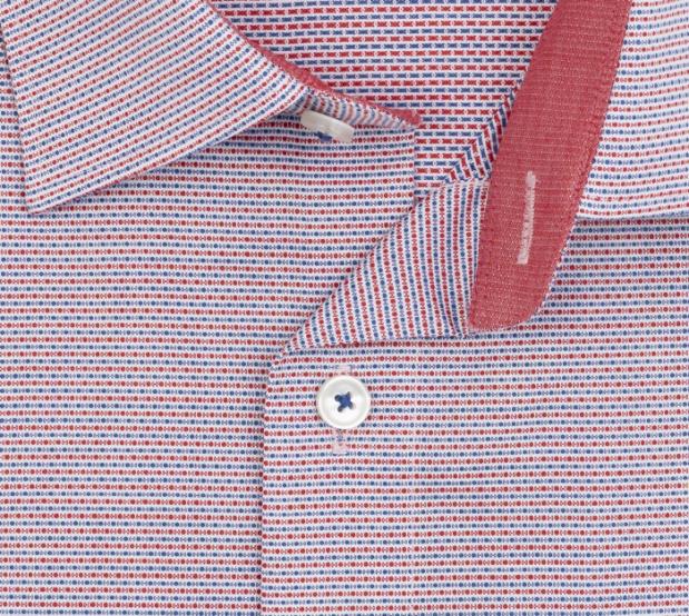 OLYMP vasalásmentes férfi ing karcsúsított piros-sötétkék mintás - gallér