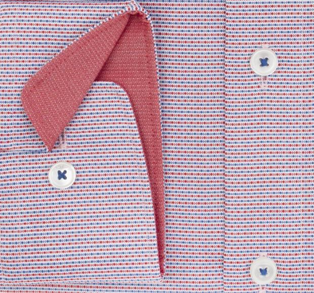 OLYMP vasalásmentes férfi ing karcsúsított piros-sötétkék mintás - mandzsetta