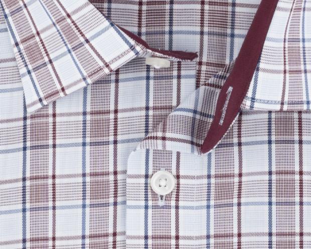 OLYMP vasalásmentes férfi ing karcsúsított bordó-kék kockás - gallér
