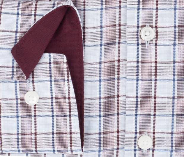 OLYMP vasalásmentes férfi ing karcsúsított bordó-kék kockás - mandzsetta