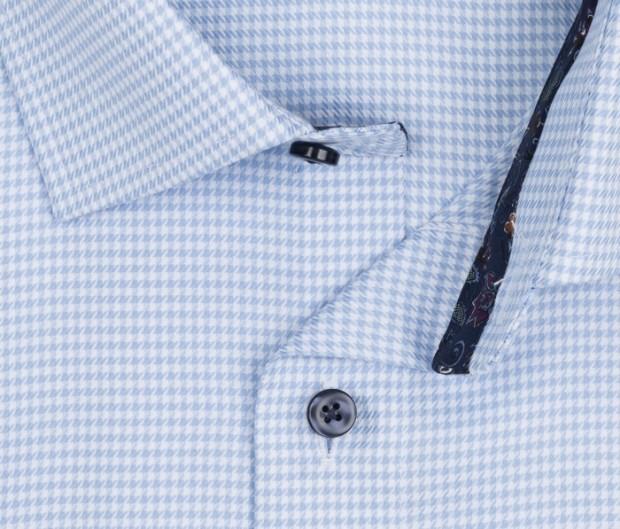 OLYMP vasalásmentes férfi ing világoskék tyúklábmintás - gallér