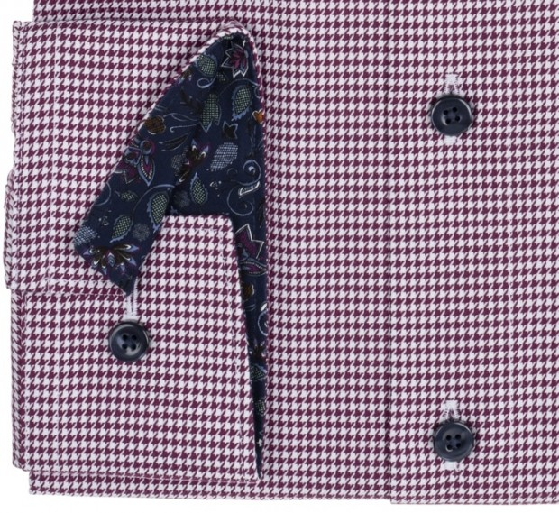 OLYMP vasalásmentes férfi ing bordó tyúklábmintás - mandzsetta