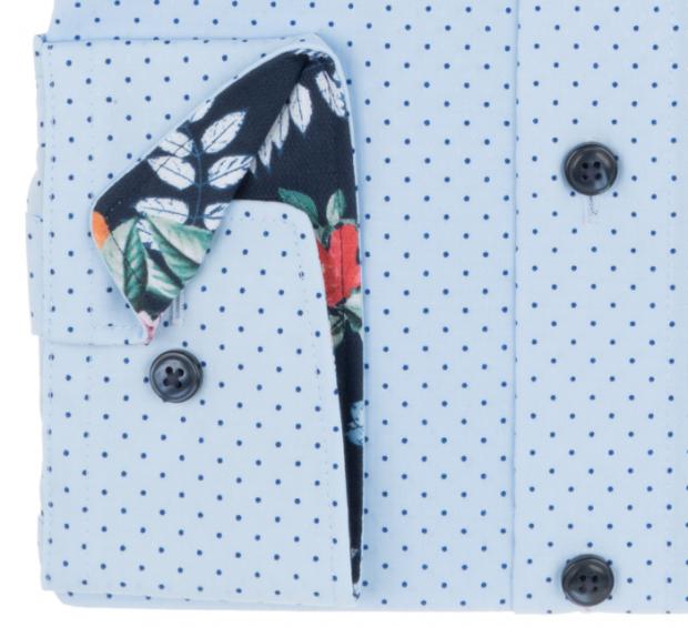 OLYMP vasalásmentes férfi ing karcsúsított kék-sötétkék pöttyös - mandzsetta