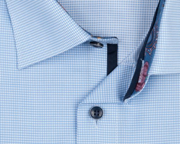 OLYMP vasalásmentes férfi ing karcsúsított világoskék apró mintás - gallér