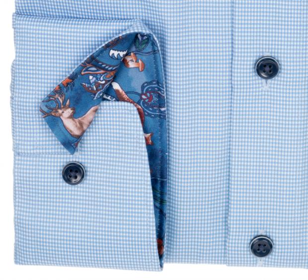 OLYMP vasalásmentes férfi ing karcsúsított kék apró mintás rövidített ujjú - mandzsetta