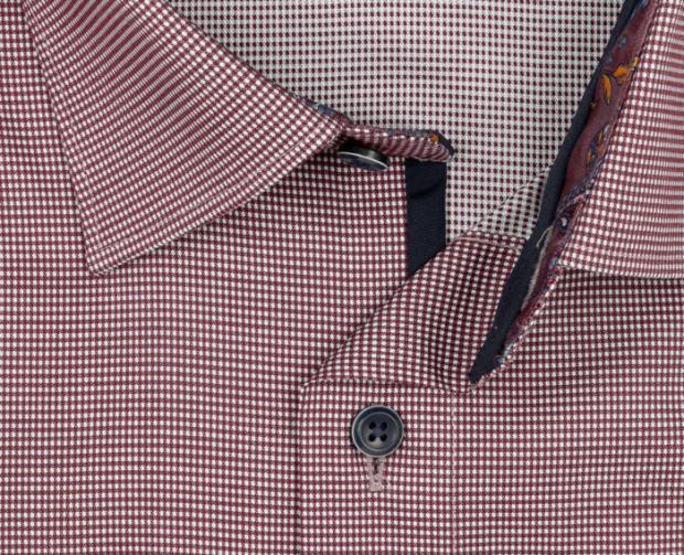 OLYMP vasalásmentes férfi ing karcsúsított bordó apró mintás rövidített ujjú - gallér