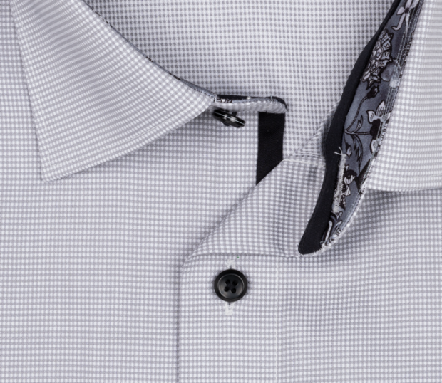 OLYMP vasalásmentes férfi ing karcsúsított szürke apró mintás - gallér