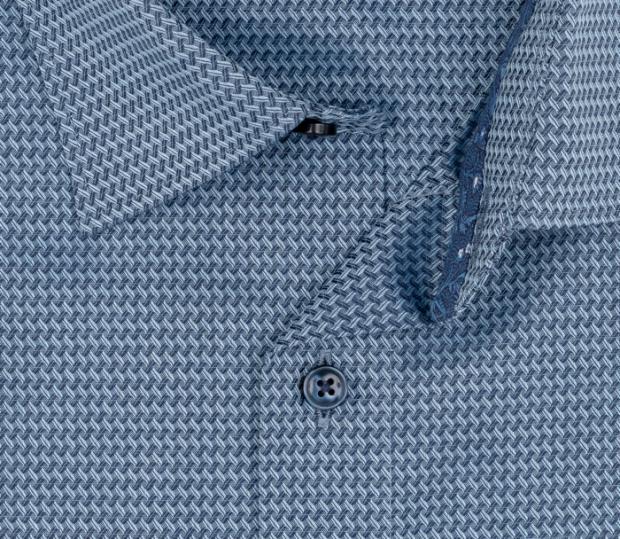 OLYMP vasalásmentes férfi ing szürkéskék mintás - gallér