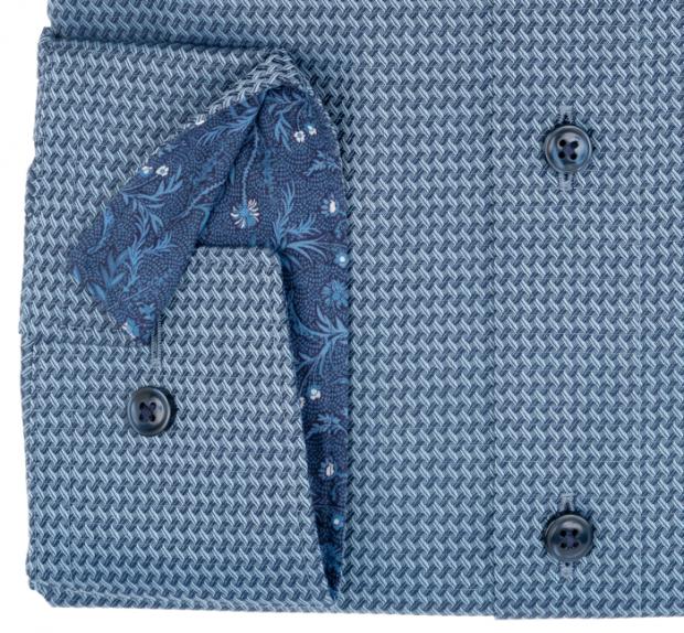 OLYMP vasalásmentes férfi ing karcsúsított szürkéskék mintás hosszított ujjú - mandzsetta