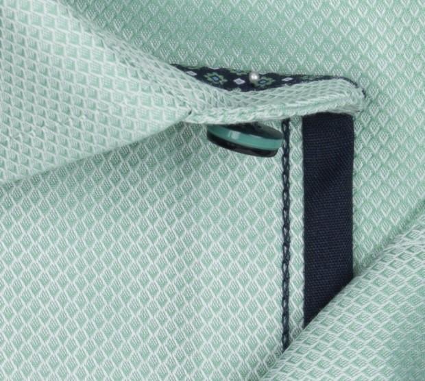 OLYMP vasalásmentes férfi ing zöld anyagában mintás rövid ujjú - anyag