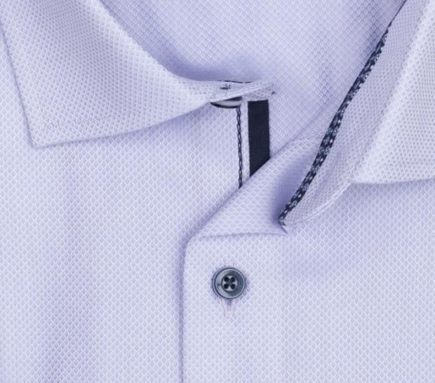 OLYMP vasalásmentes férfi ing karcsúsított lila anyagában mintás rövid ujjú - gallér