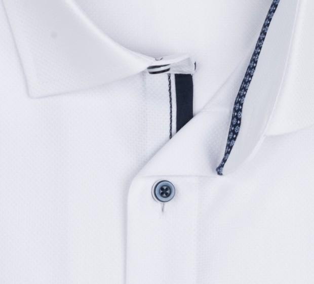 OLYMP vasalásmentes férfi ing karcsúsított fehér anyagában mintás - gallér