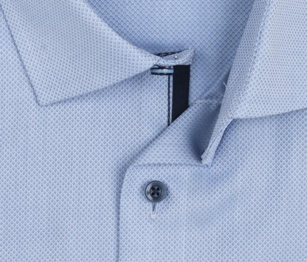 OLYMP vasalásmentes férfi ing karcsúsított világoskék anyagában mintás - gallér