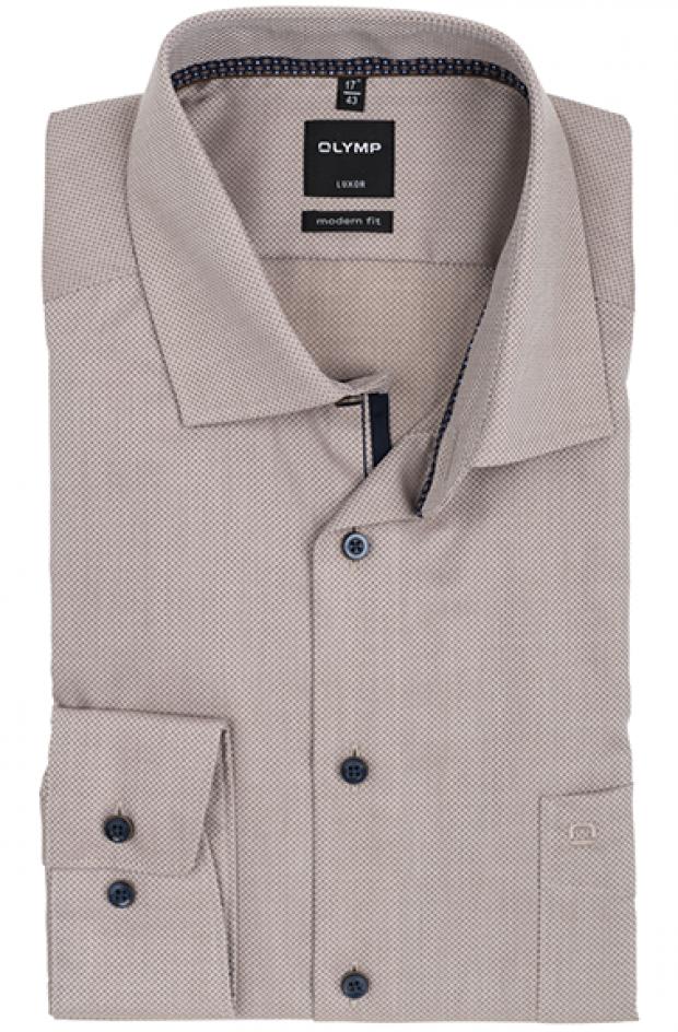 OLYMP vasalásmentes férfi ing karcsúsított világosbarna anyagában mintás