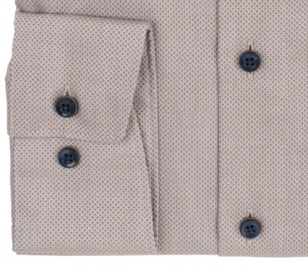 OLYMP vasalásmentes férfi ing karcsúsított világosbarna anyagában mintás - mandzsetta