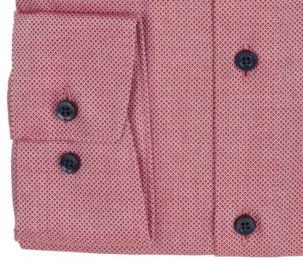 OLYMP vasalásmentes férfi ing karcsúsított piros anyagában mintás - mandzsetta