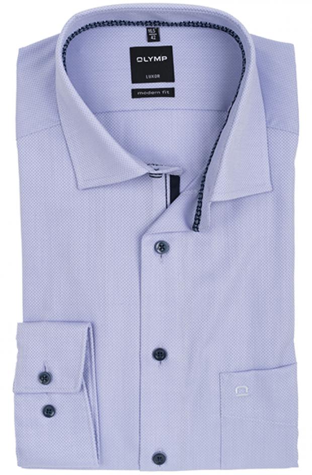 OLYMP vasalásmentes férfi ing karcsúsított orgonalila anyagában mintás