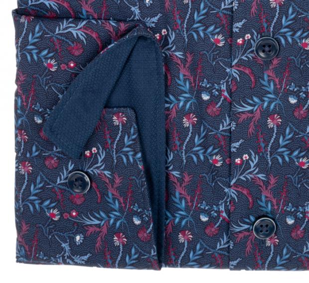 OLYMP vasalásmentes férfi ing karcsúsított sötétkék-bordó virágmintás hosszított ujjú - mandzsetta
