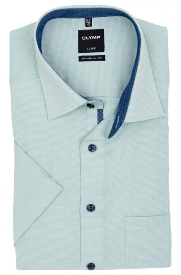 OLYMP vasalásmentes férfi ing karcsúsított világoszöld mintás rövid ujjú