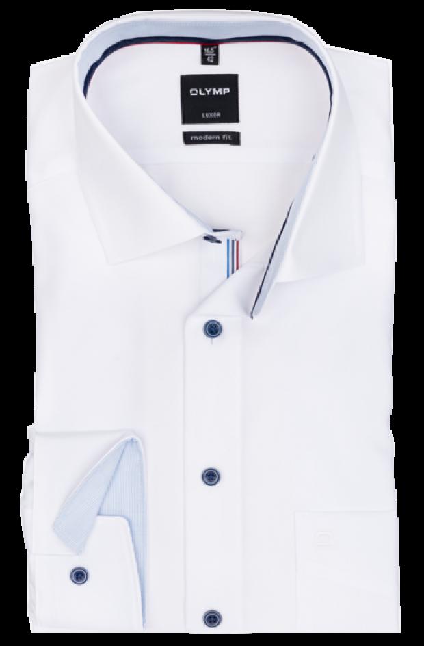 OLYMP vasalásmentes férfi ing karcsúsított fehér (csíkos gallér belső)