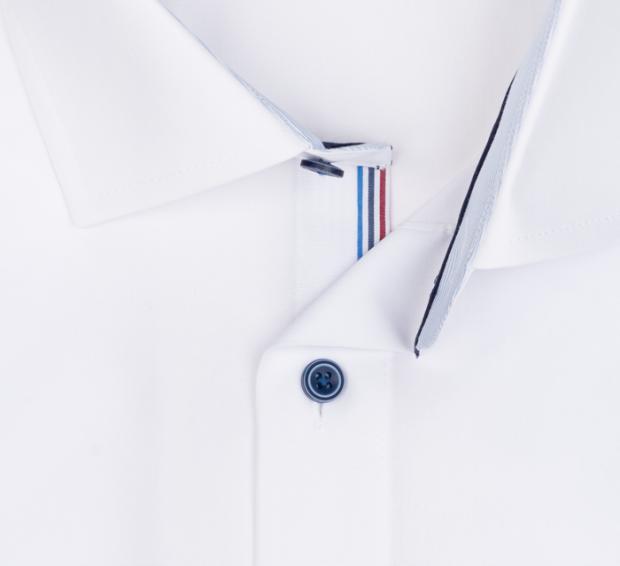 OLYMP vasalásmentes férfi ing fehér (csíkos gallér belső) - gallér