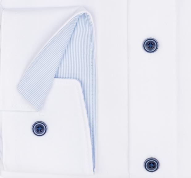 OLYMP vasalásmentes férfi ing karcsúsított fehér (csíkos gallér belső) - mandzsetta